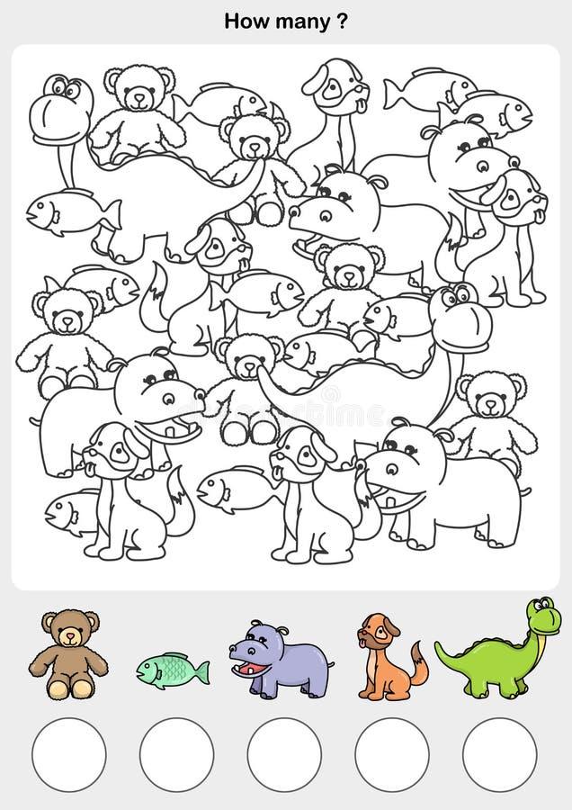 A contagem e a pintura colorem os animais ilustração stock