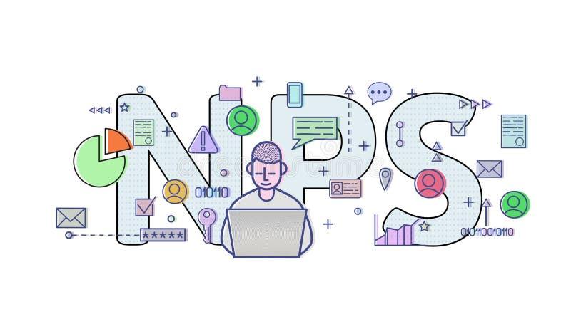 Contagem líquida do promotor, NPS Tabela do conceito com usuário, letras e ícones do computador Ilustração lisa colorida do vetor ilustração do vetor