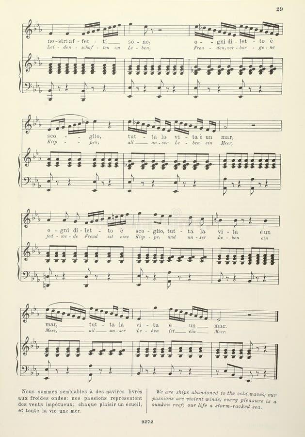 Contagem musical velha - com poemas líricos imagem de stock royalty free