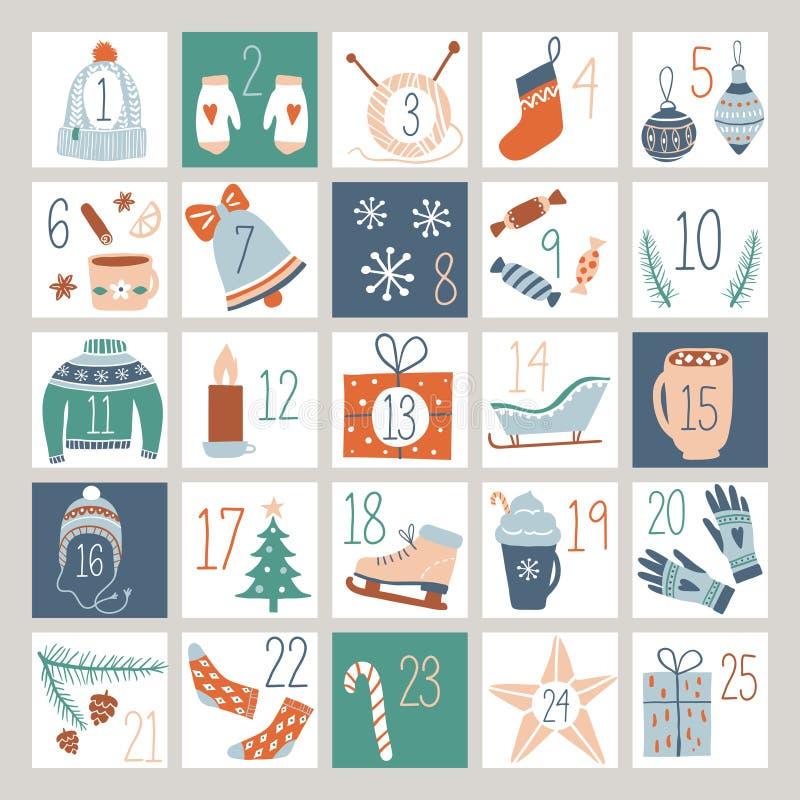 Contagem regressiva Advent Calendar ou cartaz ilustração do vetor