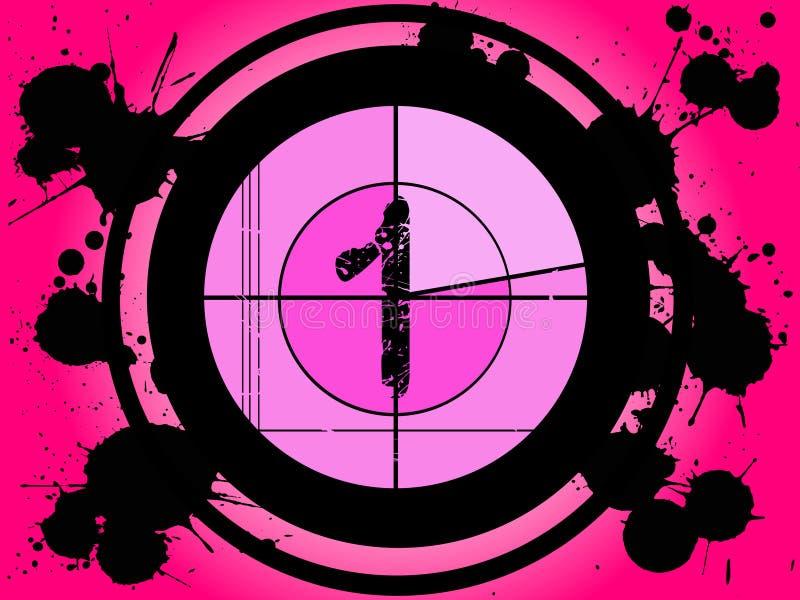 Contagem regressiva cor-de-rosa da película - em 1 ilustração do vetor