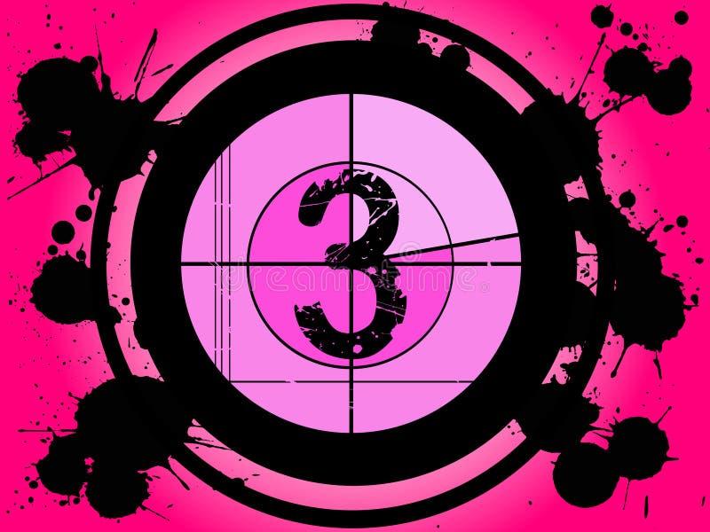 Contagem regressiva cor-de-rosa da película - em 3 ilustração do vetor