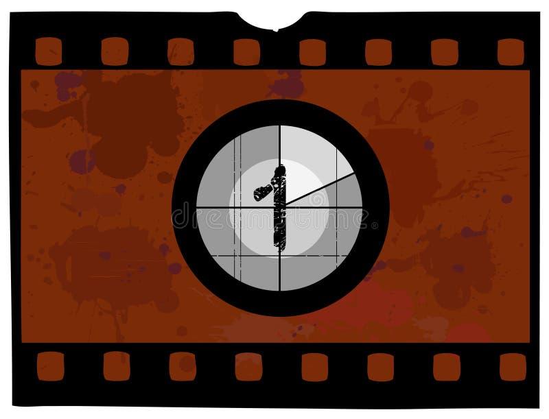 Contagem regressiva da película - em 1 ilustração stock