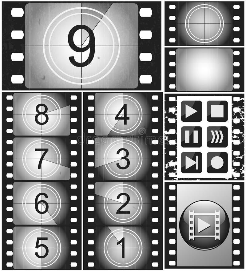 Contagem regressiva do filme do vintage em um filme silencioso de 35mm e em um quadro de filme 135 ilustração do vetor