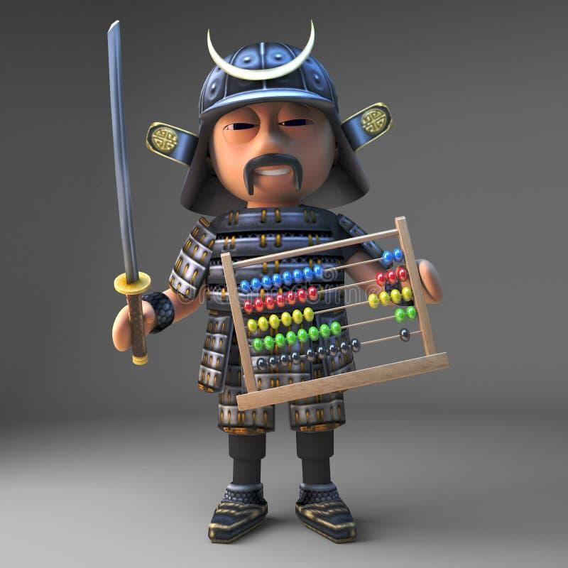 Contagens honoráveis do guerreiro do samurai de Japanese em um ábaco, ilustração 3d ilustração royalty free