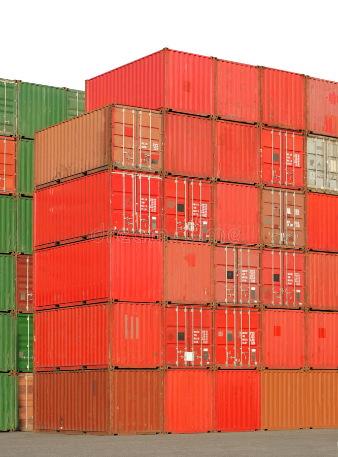 Container. Big stack of freight container cargo boxes stock photo