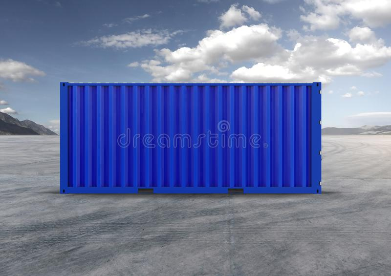 A container, blue container in 3D rendering. Key element in globalization, reduces costs, speeds up logistics, used by importers and exporters royalty free stock photo