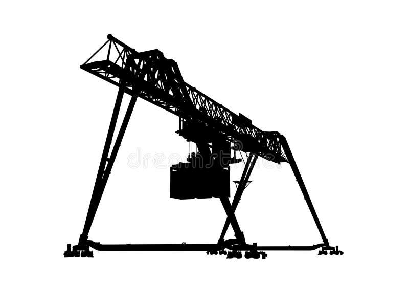 Container bridge gantry crane. Black silhouette stock illustration