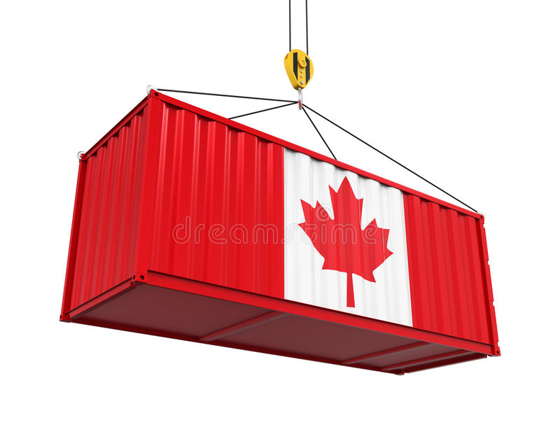 Container with Canadian Flag and Crane Hook. Isolated on white background. 3D render royalty free illustration