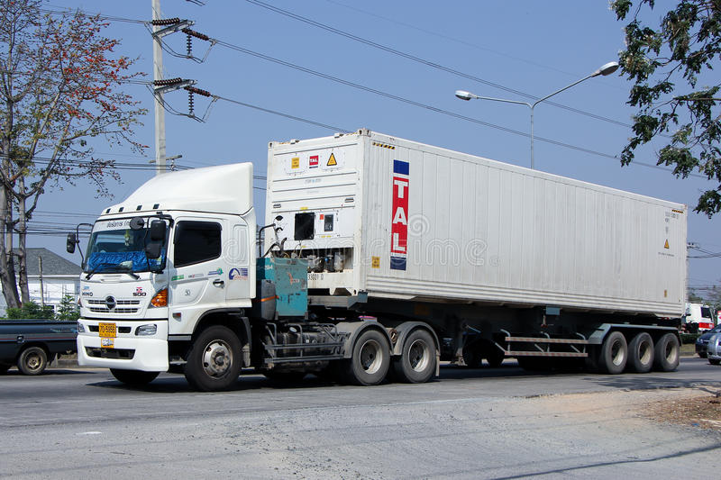 Container Cargo Trailer truck of Perfect Trailer Transport stock photos