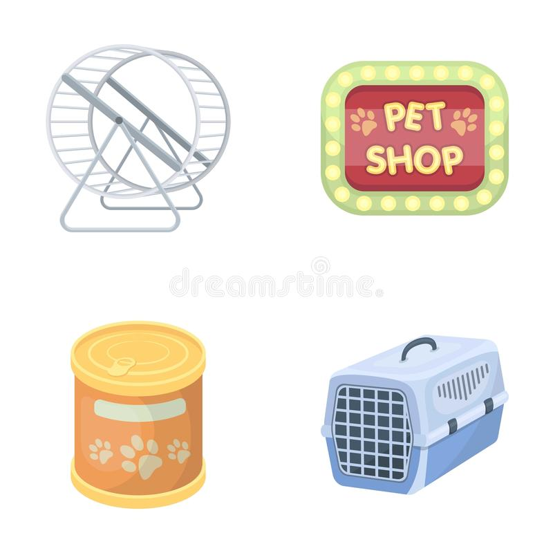 Container for carrying animals and other attributes of the zoo store. Pet shop set collection icons in cartoon style vector illustration