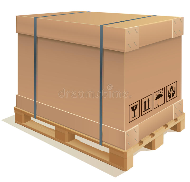Container carton. Cardboard container with wooden pallet stock illustration