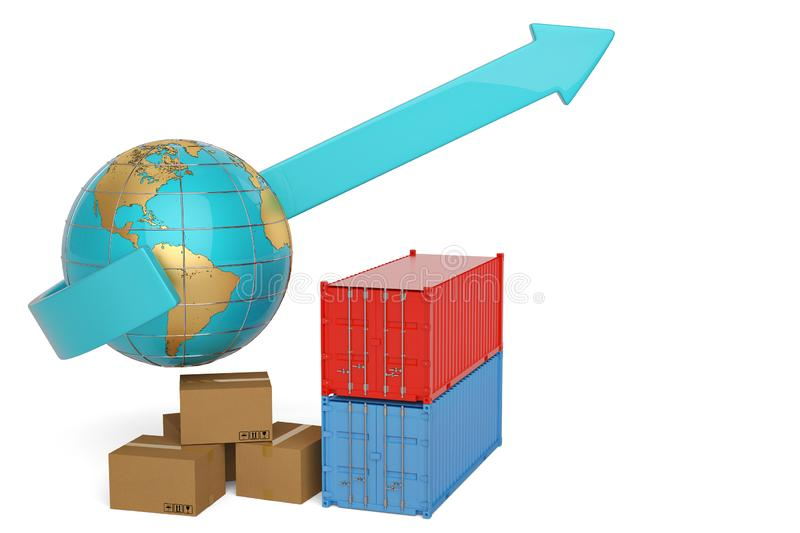 Container and carton with globe on white background.3D illustration. royalty free illustration
