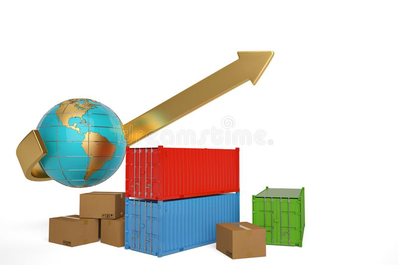 Container and carton with globe on white background.3D illustration. stock illustration
