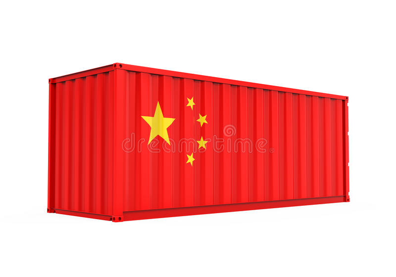 Container with China Flag Isolated vector illustration