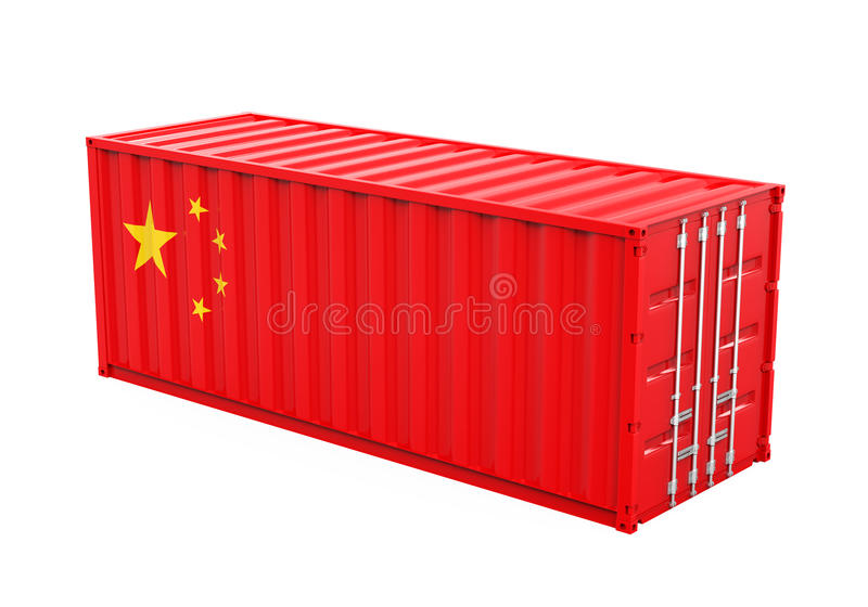 Container with China Flag Isolated stock illustration