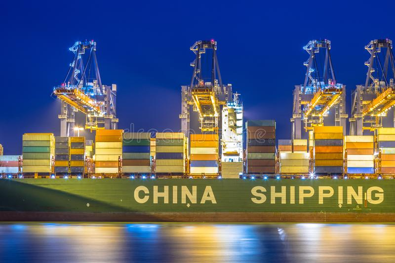 Container china shipping unloaded. At automated harbor terminal in Maasvlakte Europoort port of Rotterdam, Netherlands stock photography