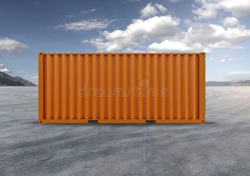 Container in 3D het teruggeven, kleurensinaasappel royalty-vrije stock afbeeldingen