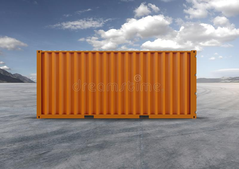 Container in 3D.rendering, color orange. Container, orange color, 3D rendering, globalization, accelerates logistics, reduces costs, shipped by ship, used by royalty free stock images