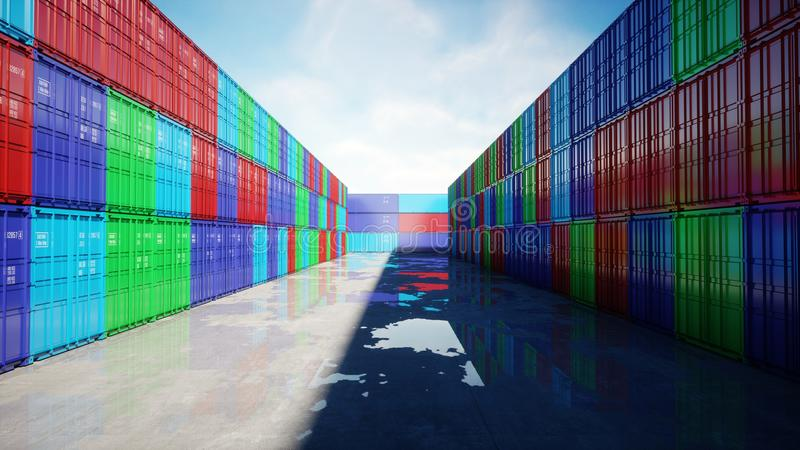 Container depot, wharehouse, seaport. Aeril view. Cargo containers. Logistic and business concept. 3d rendering. Container depot, wharehouse, seaport. Aeril stock illustration