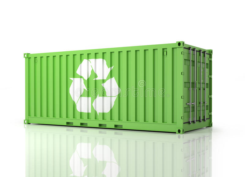 Container Eco. Perspective view of a green Container. Part of Warehouse and Logistics Series stock illustration