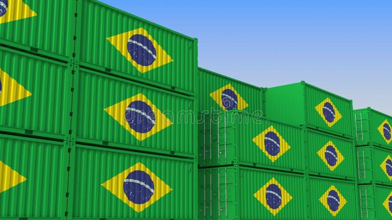 Container eindhoogtepunt van containers met vlag van Brazilië De Braziliaanse uitvoer of de invoer bracht het 3D teruggeven met e vector illustratie