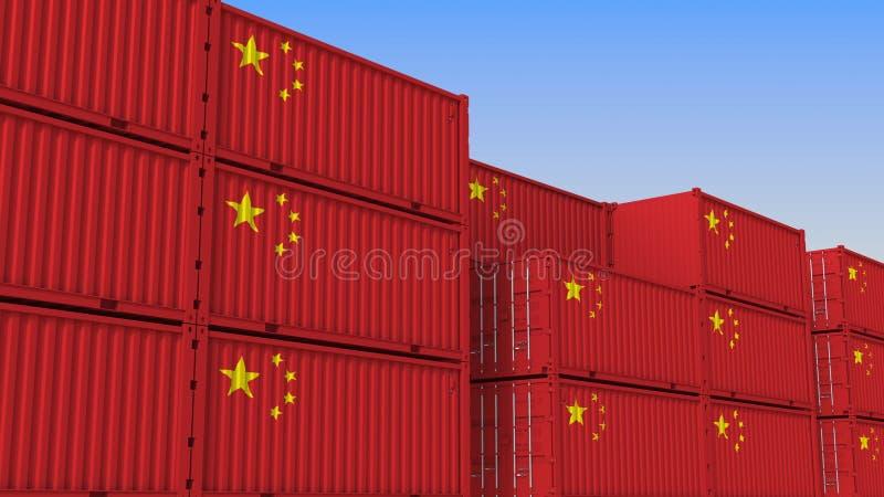Container eindhoogtepunt van containers met vlag van China De Chinese uitvoer of de invoer bracht het 3D teruggeven met elkaar in vector illustratie