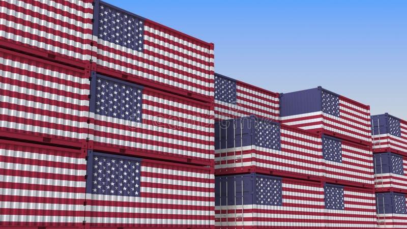 Container eindhoogtepunt van containers met vlag van de V.S. De Amerikaanse uitvoer of de invoer bracht het 3D teruggeven met elk royalty-vrije illustratie