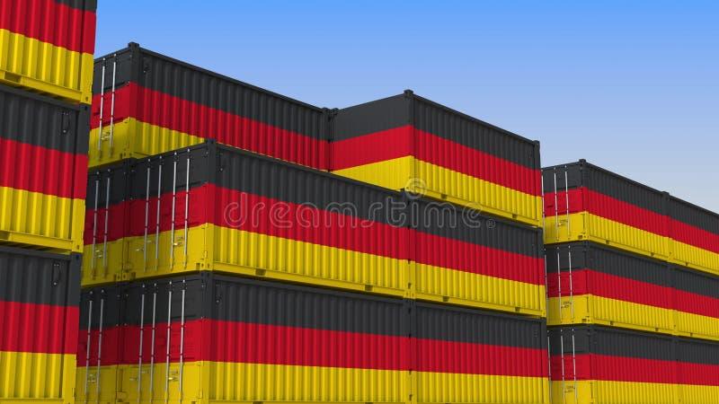 Container eindhoogtepunt van containers met vlag van Duitsland De Duitse uitvoer of de invoer bracht het 3D teruggeven met elkaar royalty-vrije illustratie