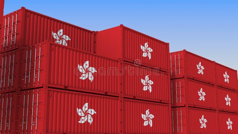 Container eindhoogtepunt van containers met vlag van Hong Kong De uitvoer of de invoer bracht het 3D teruggeven met elkaar in ver vector illustratie
