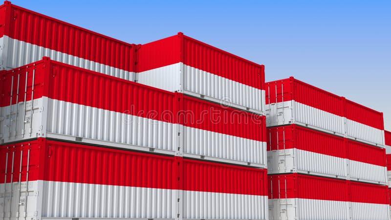 Container eindhoogtepunt van containers met vlag van Indonesië De Indonesische uitvoer of de invoer bracht het 3D teruggeven met  vector illustratie