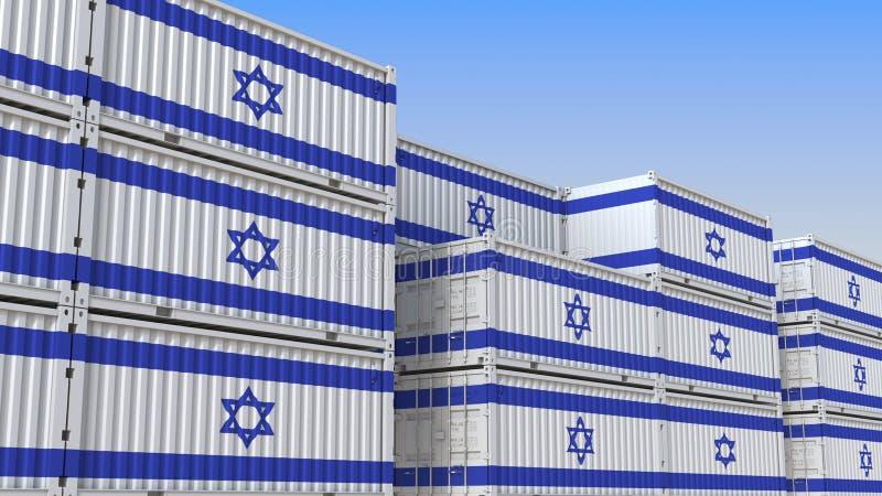 Container eindhoogtepunt van containers met vlag van Israël De Israëlische uitvoer of de invoer bracht het 3D teruggeven met elka stock illustratie