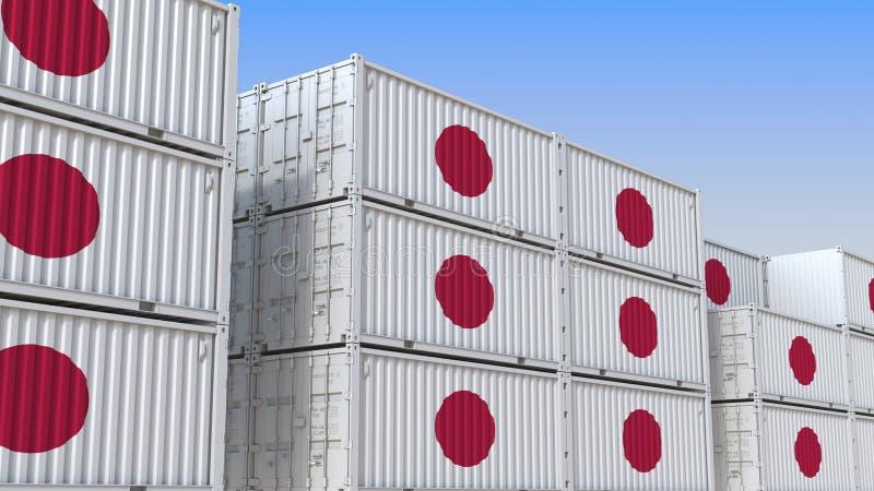 Container eindhoogtepunt van containers met vlag van Japan De Japanse uitvoer of de invoer bracht het 3D teruggeven met elkaar in vector illustratie