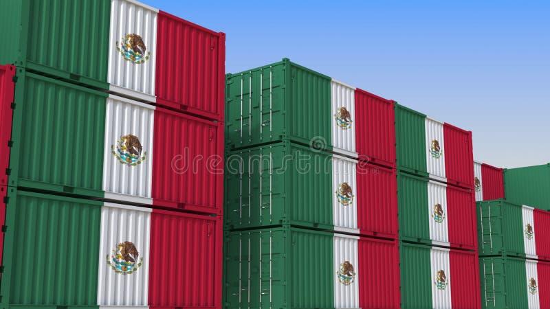 Container eindhoogtepunt van containers met vlag van Mexico De Mexicaanse uitvoer of de invoer bracht het 3D teruggeven met elkaa vector illustratie