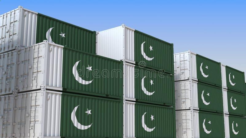 Container eindhoogtepunt van containers met vlag van Pakistan De Pakistaanse uitvoer of de invoer bracht het 3D teruggeven met el vector illustratie