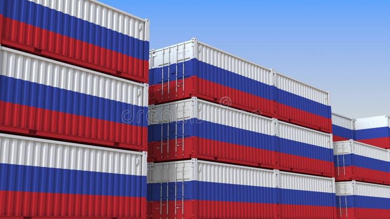 Container eindhoogtepunt van containers met vlag van Rusland De Russische uitvoer of de invoer bracht het 3D teruggeven met elkaa stock illustratie
