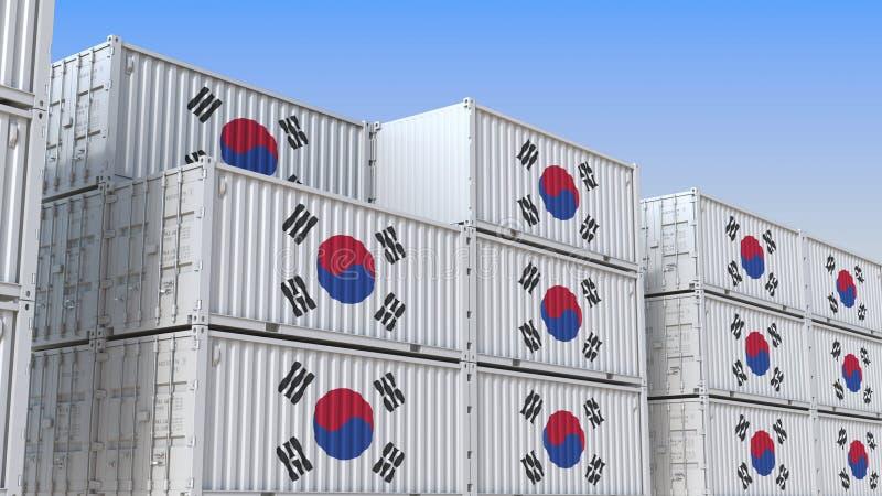 Container eindhoogtepunt van containers met vlag van Zuid-Korea De Koreaanse uitvoer of de invoer bracht het 3D teruggeven met el royalty-vrije illustratie