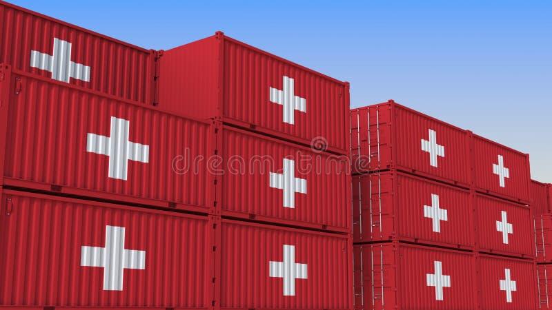 Container eindhoogtepunt van containers met vlag van Zwitserland De Zwitserse uitvoer of de invoer bracht het 3D teruggeven met e stock illustratie