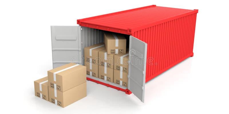 Container en bewegende dozen op witte achtergrond 3D Illustratie vector illustratie