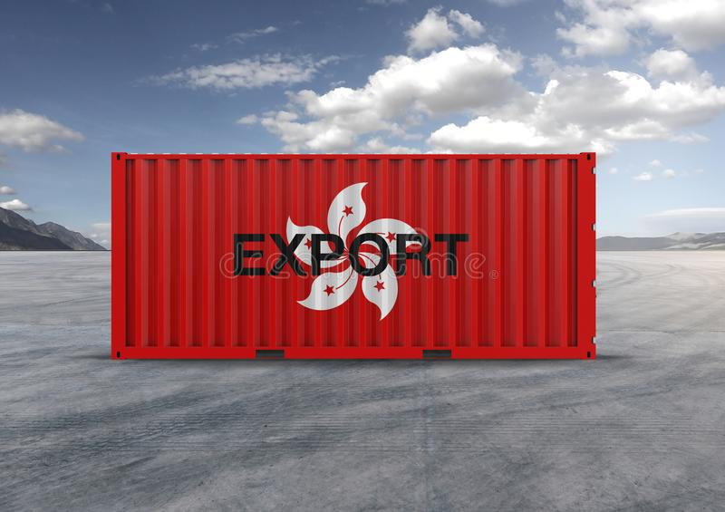 A container with a flag of hong kong in 3D rendering. In 3D rendering, a container or container for export and import, a key element in business globalization stock photo