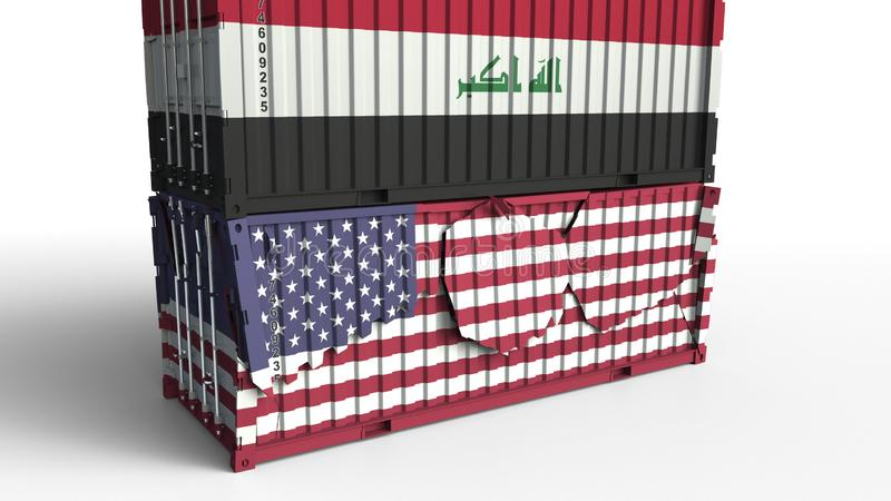 Container with flag of Iraq breaks cargo container with flag of the United States. Trade war or economic conflict royalty free illustration