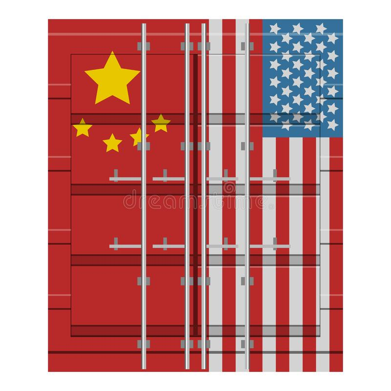 Container with flag of United States and China royalty free illustration