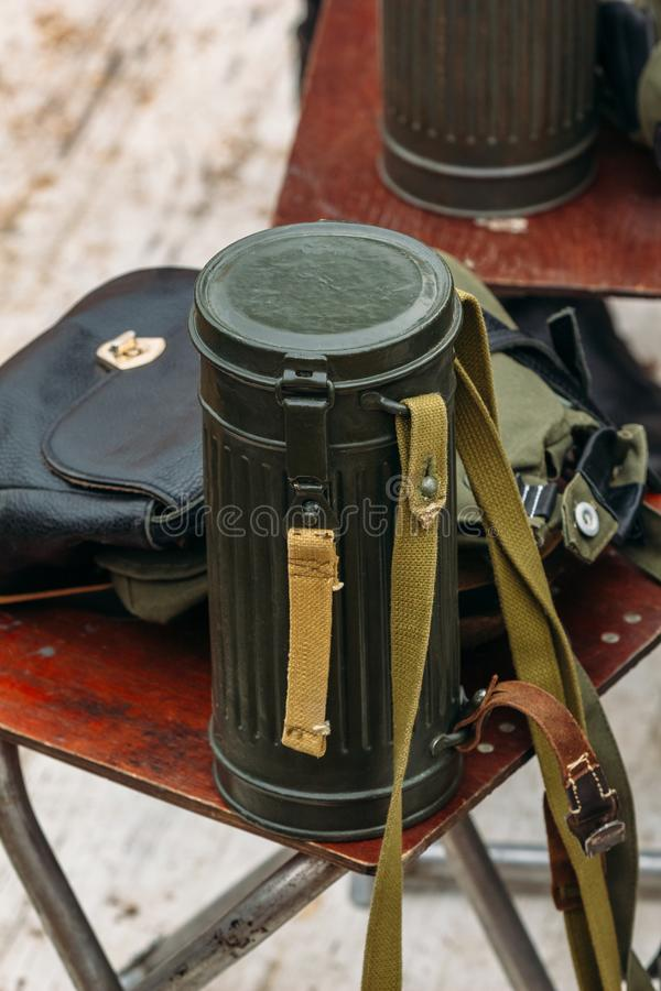 Container for the gas mask of the Second World War. Bag of gas mask German soldier from the times of World War II on the table royalty free stock photos