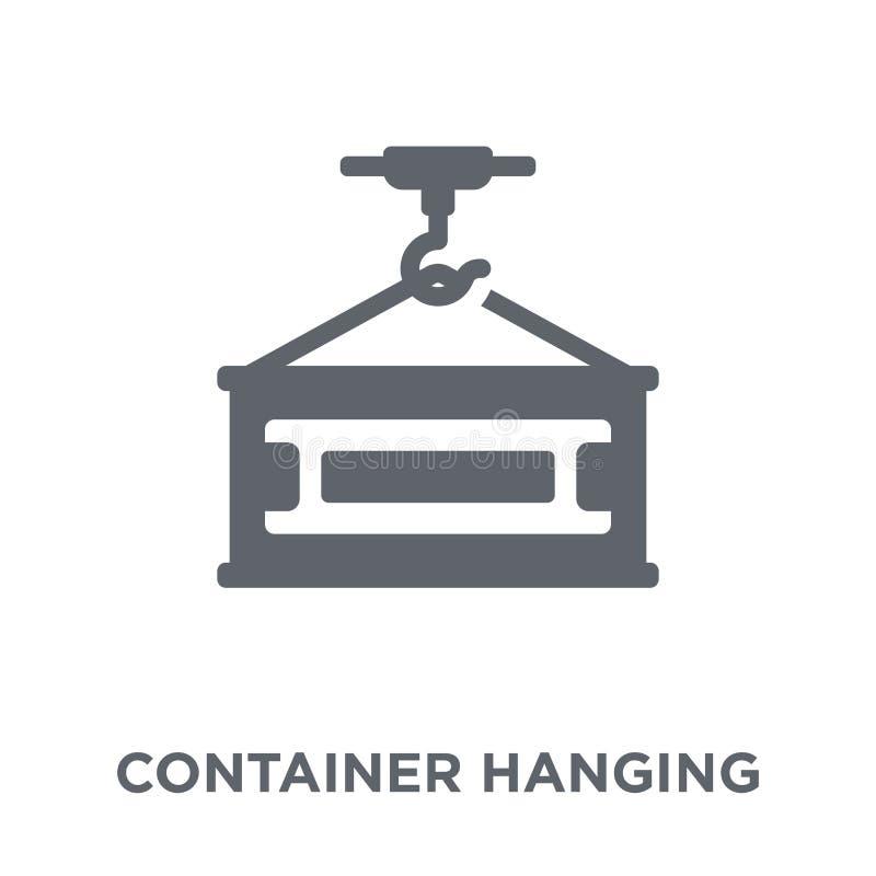 Container Hangend pictogram van Levering en logistische inzameling vector illustratie