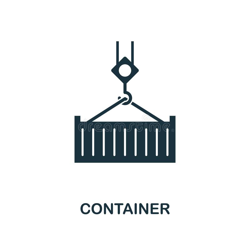 Container icon. Monochrome style design from logistics delivery icon collection. UI. Pixel perfect simple pictogram container icon. Container icon. Monochrome vector illustration