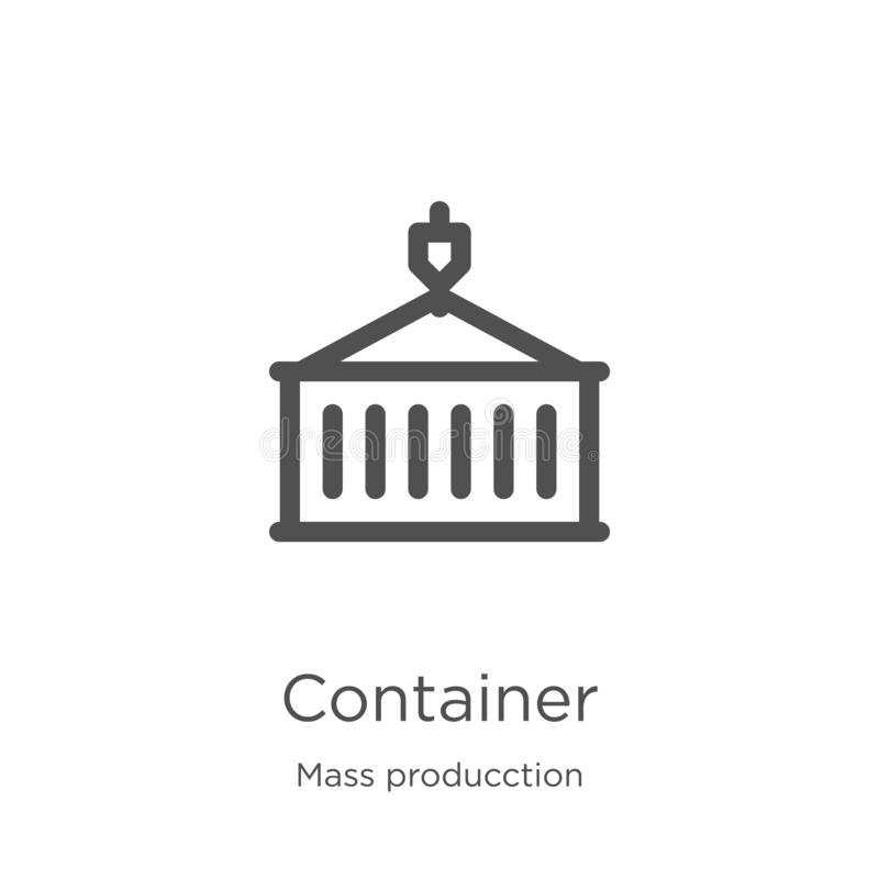 Container icon vector from mass producction collection. Thin line container outline icon vector illustration. Outline, thin line. Container icon. Element of mass vector illustration