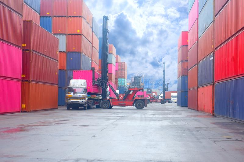 Container. Industrial crane loading Containers in a Cargo freight ship. Container ship in import and export business logistic stock images