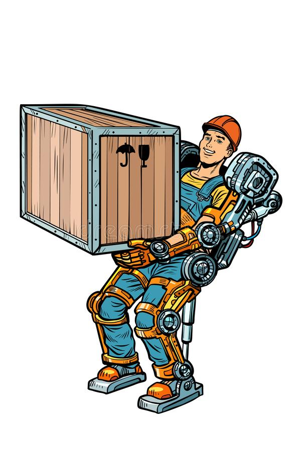 Container loader. working in the exoskeleton. Pop art retro vector illustration kitsch vintage drawing royalty free illustration