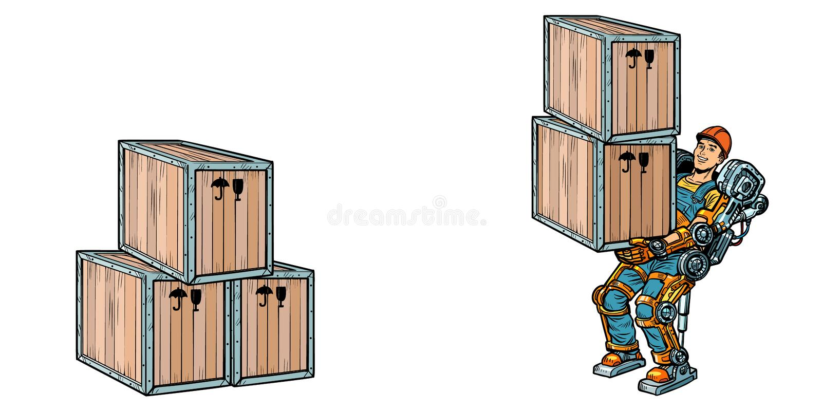 Container loading. A man works in the exoskeleton exoskeleton. Pop art retro vector illustration kitsch vintage drawing royalty free illustration