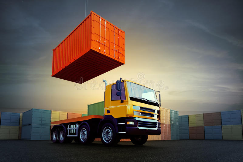 Container loading on truck in dock. 3d illustration of container loading on truck in dock on sky background royalty free illustration